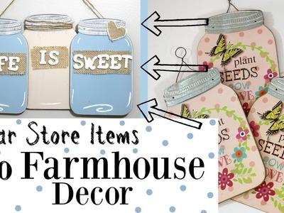 Farmhouse Jar Wall Decor | Dollar General Farmhouse Craft | Cute Mason Jar Wall Decor