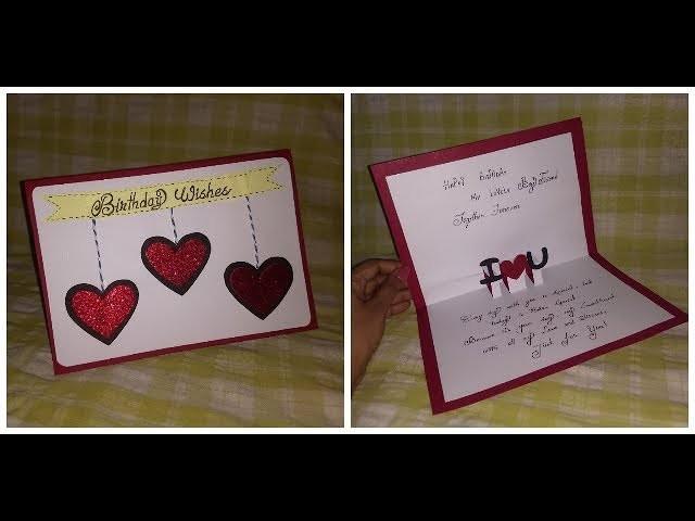 Handmade Birthday Greeting Card Idea For Boyfriend Diy Craft Idea