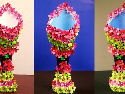 How to make a paper vase at home - Paper flower vase craft - DIY simple paper craft