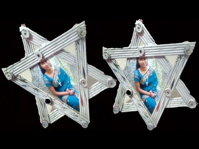 How to make Photo Frame | Newspaper photo frame Idea