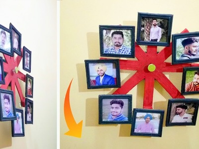 How To Make Wall Ferri Wheel Photo Frame | Newspaper Craft | DIY Wall Decor