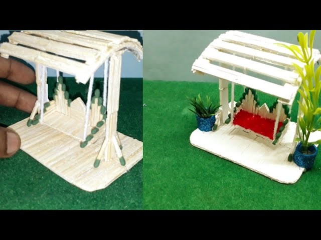 MatchStick Art and Craft | How to make Matchstick Miniature Swing.Jhula