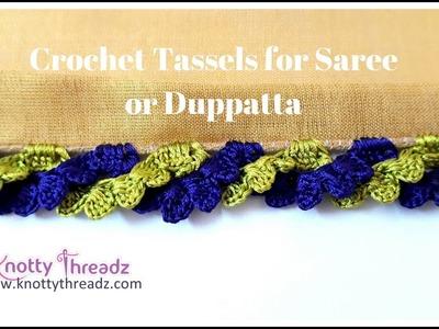 New Saree Kuchu Design   Crochet Border for Duppatta or Odhani   2.10   www.knottythreadz.com