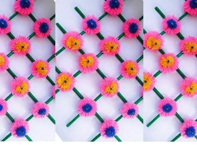 News Paper Wall Hanging.Wall Decor Ideas.Woolen Wall Decor.Woolen Craft Ideas. !