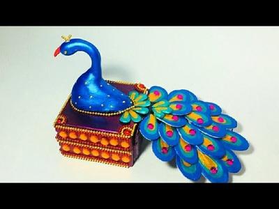 Peacock Craft | Kumkum Box | DIY | Best Out Of Waste | Haldi-Kunku Box | By Punekar Sneha.