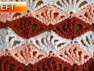 Quadruple Shells Crochet Stitch - Left Handed Crochet Tutorial