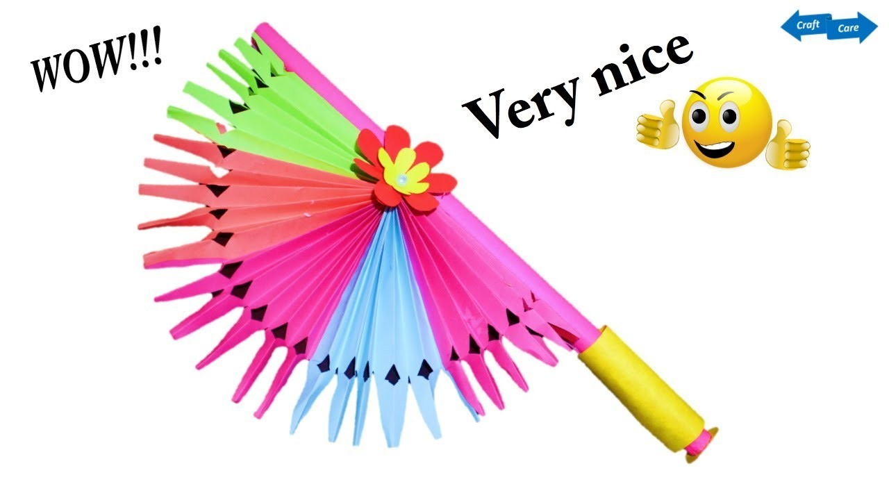 Rainbow Paper Decorative Hand Fan New Paper Craft Idea New Diy