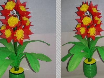 Shopping bag flower    diy shopping bag craft    making flower  dustu pakhe