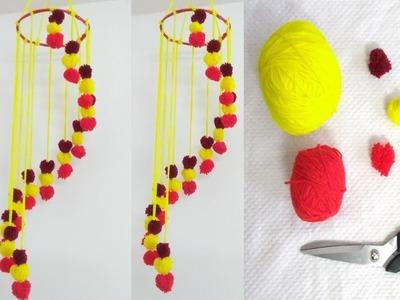 Woolen Jhumar Craft With Yarn | New Ceiling Hanging Design | Easy Craft Idea | DIY Wool Craft Idea.