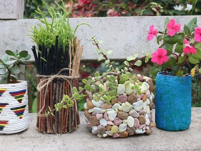 4 Amazing planter ideas from waste plastic bottles.unique planter ideas.DIY Plant pots