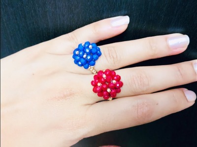 Beaded Stunning Ring. Fast & Easy Project. DIY Ring. How to make beaded Ring