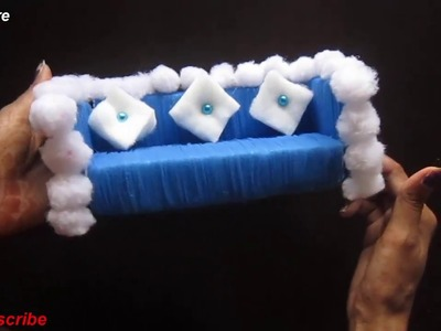 Craft Care Make decorative sofa miniature with nlka thread and waste thermocol # school project #DIY