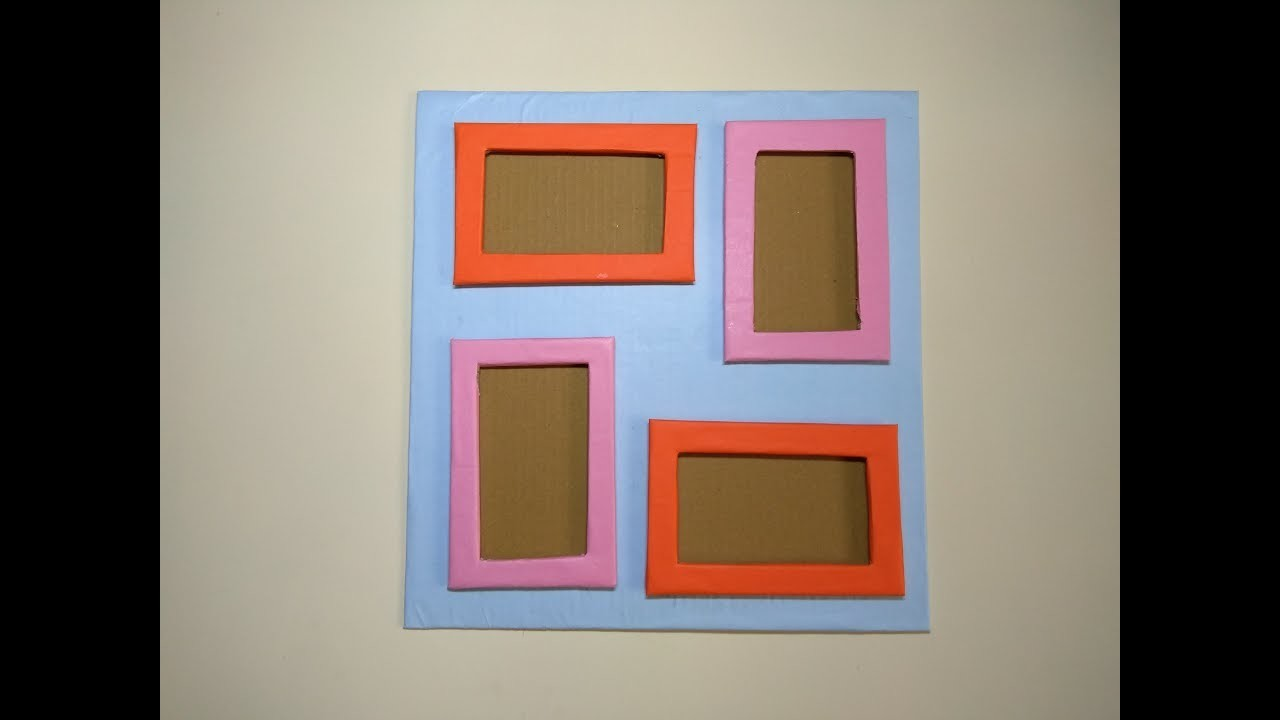 DIY 4 photo collage frame. Photo frame banane ka tarika. DIY stylish Wall photo frame