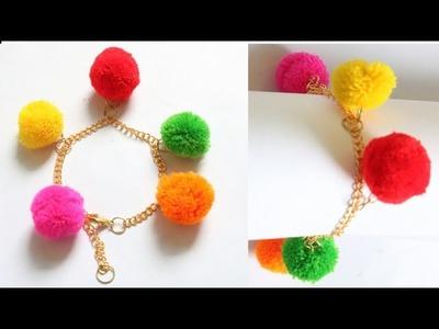 DIY Bracelet.Pom pom bracelet making.Friendship bracelet.Pom pom with chain bracelet.friendship band