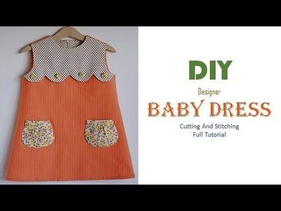 DIY Designer Baby Dress With Pockets Full Tutorial