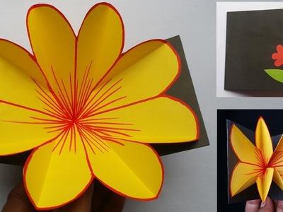 DIY: Flower Pop up Card.Gift card!!! How to Make Beautiful Paper Flower Pop up Card!!!