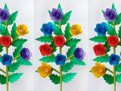 DIY: Flower Stick.DIY-Paper Roses.DIY-Paper Flowers.Paper Flower Stick For Room Decor