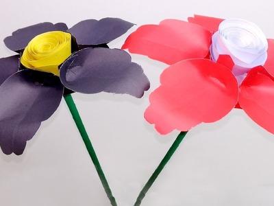 DIY-Handcraft-Stick Paper Flower Simple & Beautiful | Stick Paper Flower | Jarine's Crafty Creation