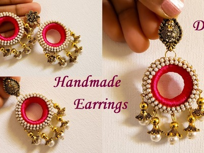 DIY || How To Make Designer Silk Thread Pearl Earrings at Home || Silk Thread EarringsTutorial !!!