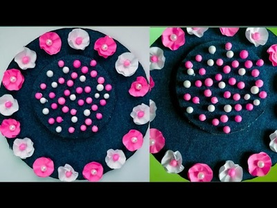 Diy paper flower wall hanging.old jeans wall hanging. recycle Wall decoration by KovaiCraft #31