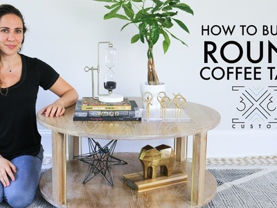 DIY Round Coffee Table. Woodworking Project. Cerused Oak. Router