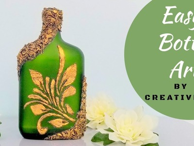 Easy Bottle Art using DIY Stencil.Bottle Decoration.Wine Bottle art.Bottle Craft By CreativeCat