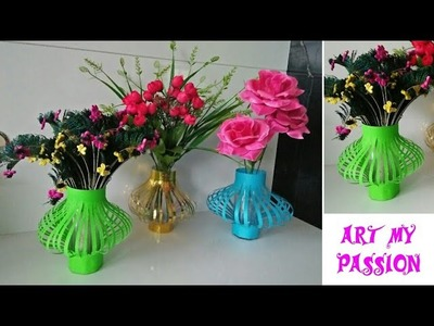 How to Make a Paper Flower Vase | DIY simple Paper Flower Vase | Paper Flower Bouquet | artmypassion