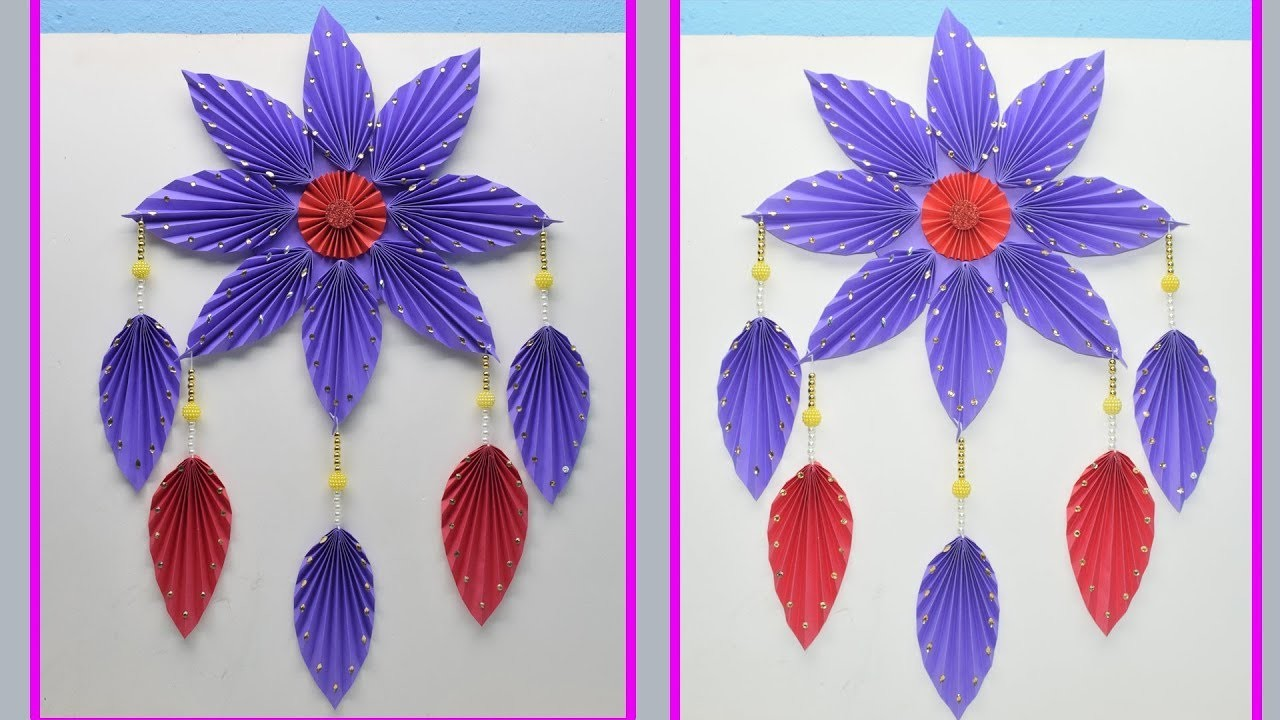 How to Make an amazing wall Hanging At Home  Using  Paper - DIY Room Decor