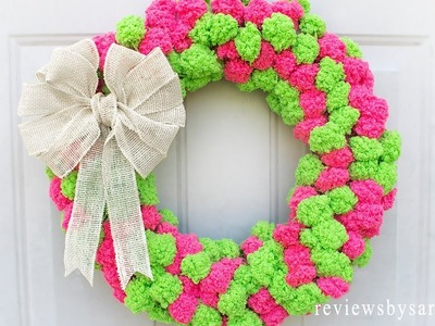 How to Make an Easy Pom Pom Wreath Beginners - DIY Fun Crafts Using Red Heart Pomp a Doodle Yarn