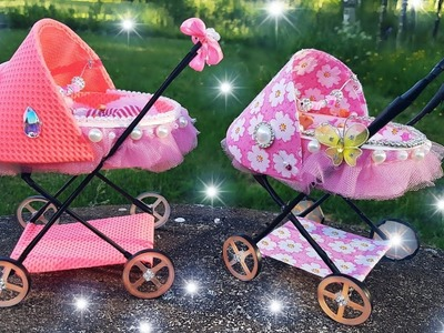 How to make carriage for baby doll| miniature baby carriage tutorial | DIY dolls. stroller |