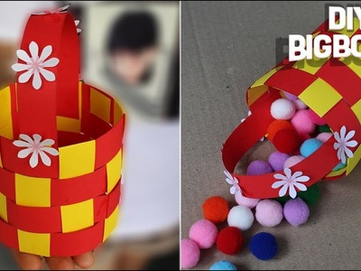 How to make Flower Basket with paper | Paper craft basket(2018) | DBB