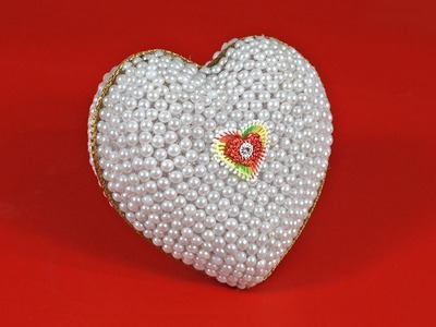How to Make Pearls HEART Gift | DIY Pearls Heart Gift | Heart Shaped Diy Holder | Best Out of Waste