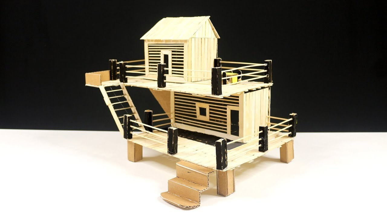How to Make Popsicle Stick House - Hamster Diy House