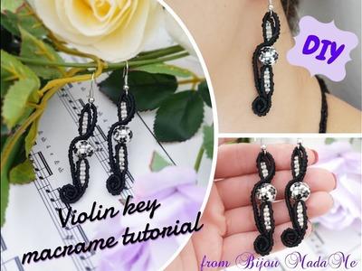 Macrame earrings tutorial. How to make macrame violin key earrings. DIY macrame jewelry.