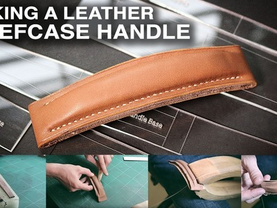 Making a briefcase leather handle. leather craft tutorial