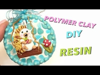 Porcupine charm.pendant- Polymer clay and resin- Tutorial- DIY