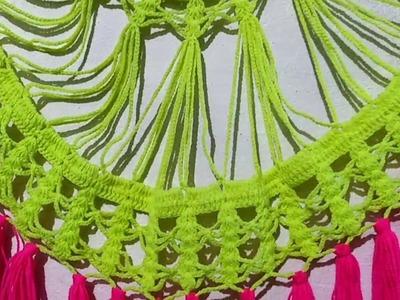 2 rangon ka toran,beautiful Door Hanging,Crochet pattern,क्रोशिया बुनाई