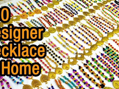 300 Designer Necklace at home   Silk Thread Necklace   DIY   How to make   jewelry making