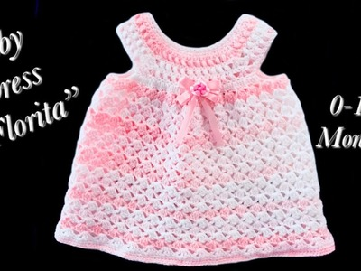 """Crochet baby girl dress """"Florita"""" fast and easy for 1-3 months by Crochet for Baby #142"""