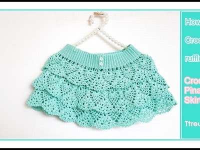 Crochet skirt.how to a Crochet ruffle skirt(pattern and English subtitles provided)