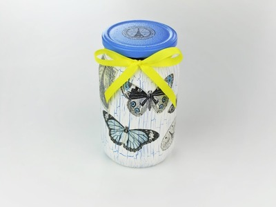 Decoupage jar - Decoupage tutorial - painted jar - DIY - Do It Yourself