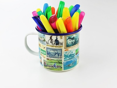 Decoupage mug with old stamps - Decoupage tutorial - DIY - Do It Yourself