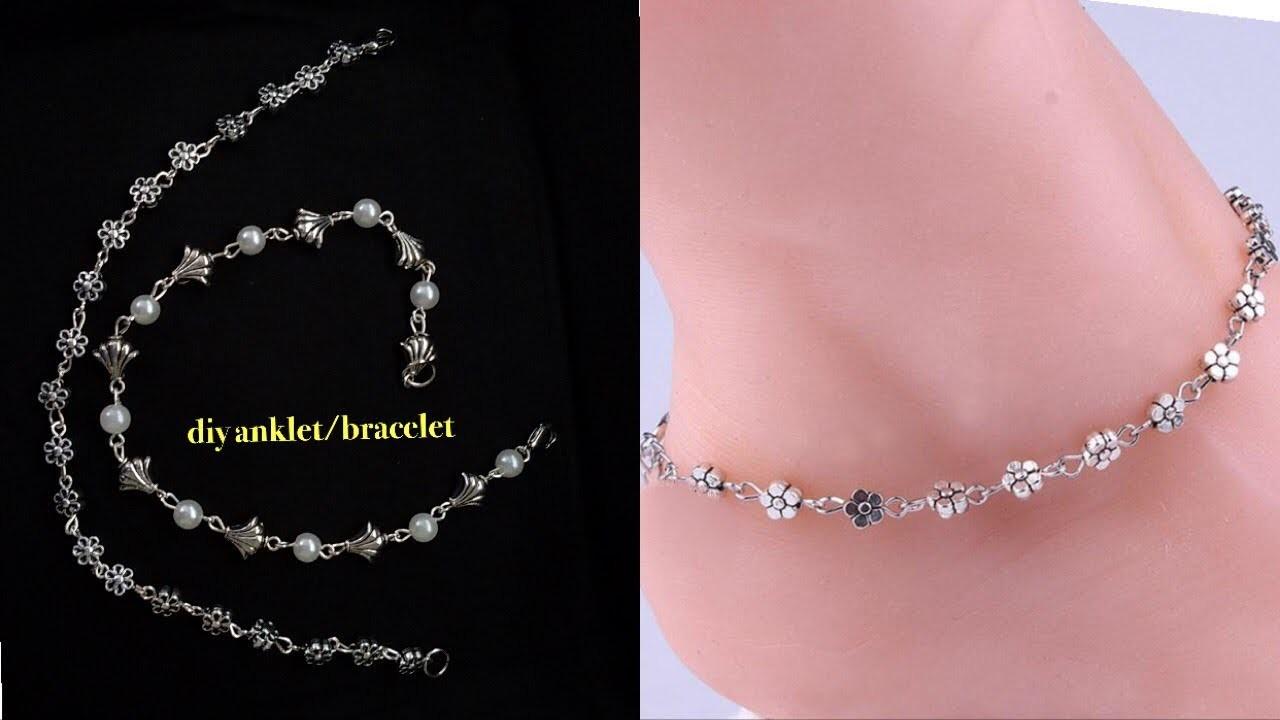 Diy  anklet bracelet||how to make anklet.bracelet at home||easy diy jewelry