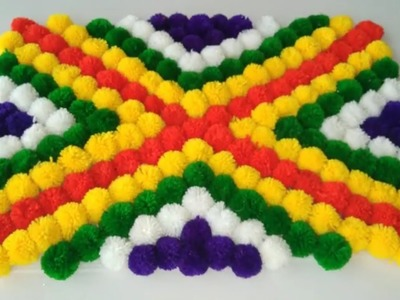 DIY - AWESOME TABLE MAT MAKING FROM WOOLEN POM POM \\ HOW TO MAKE WOOLEN TABLE MAT    DIY TABLE MAT