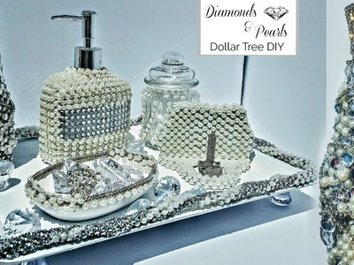 DIY Dollar Tree Room Decor Diamonds and Pearls 6 piece Vanity Set. EXTREME GLAM