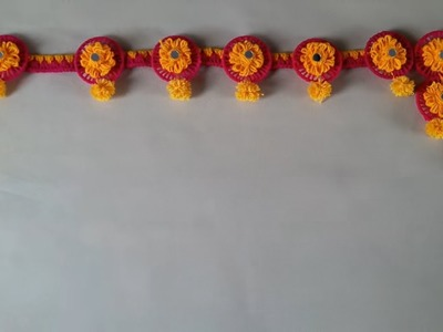 DIY - DOOR HANGING TORAN FROM WASTE BANGLES. HOW TO MAKE WOOLEN BANGLES TORAN. HANDMADE DOOR TORAN
