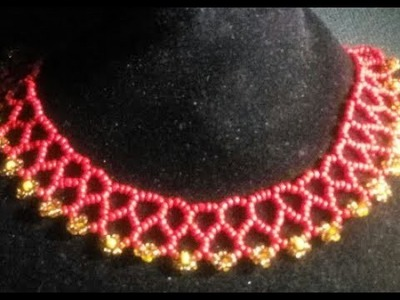 DIY tutorial on how to make this beaded yellow and red necklaces.it