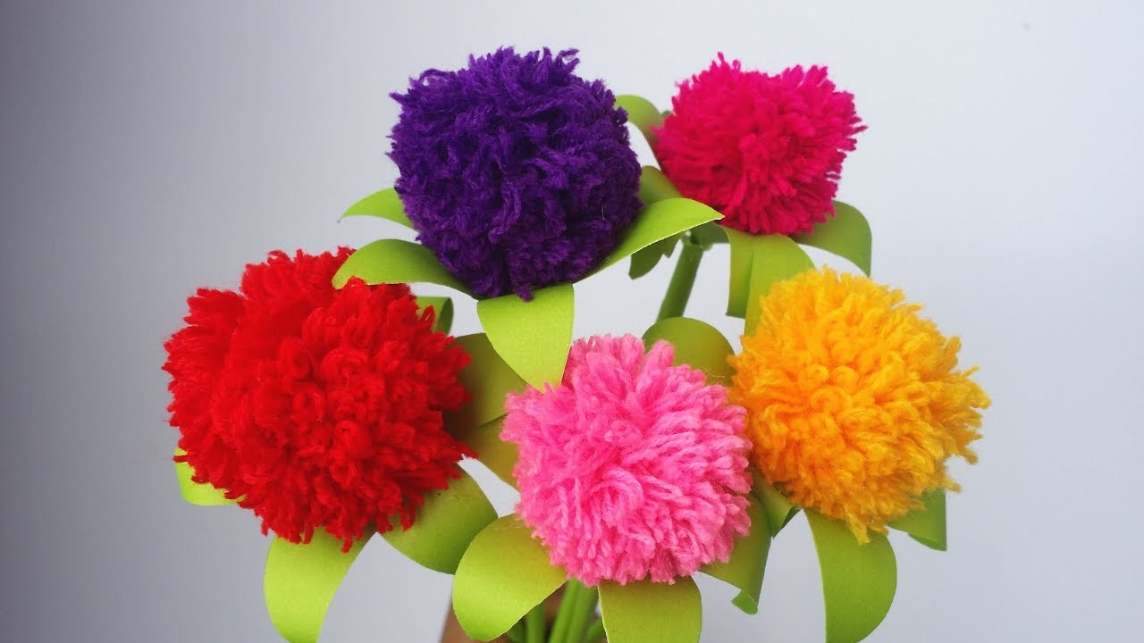 DIY: Woolen Crafts!!! How to Make Beautiful Pompom Flower With Wool.Yarn!!!
