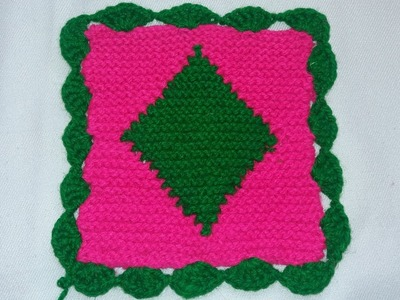 Easy Pattern Colour Square Doormat | How to make doormat.Aashan from wool