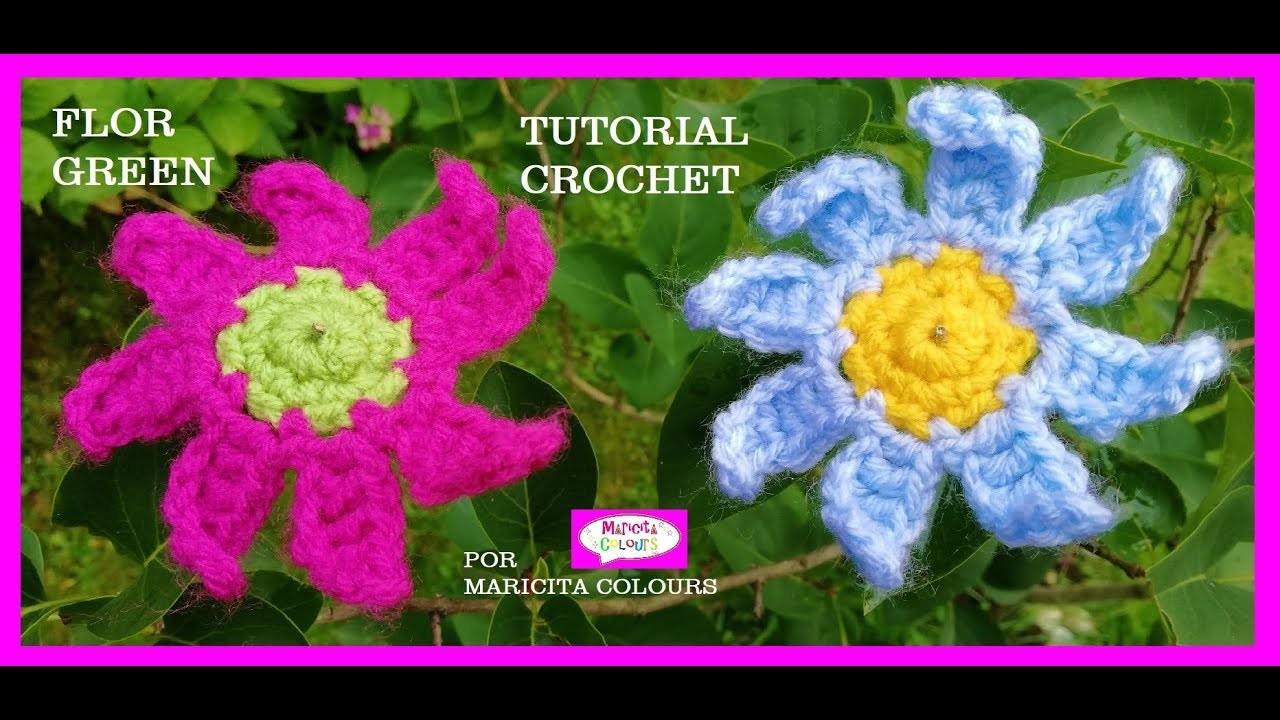 """Flor a Crochet """"Green"""" en Boho Style Tutorial por Maricita Colours"""